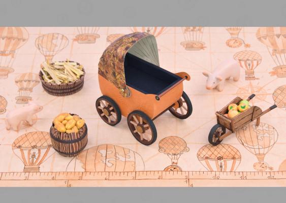 Kinderwagen Aus Papier Rollende Babykarosse Mit Lederverdeck