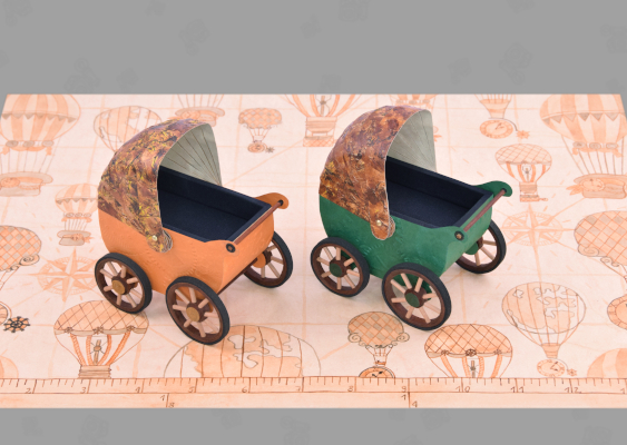 Tutorial: How to make a Vintage Stroller? Pram with leather top and wooden wheels from the 19th century. Free handicraft Templates to download provided by GWS2.de. This is an educational portal for White Anglo-Saxon Protestants