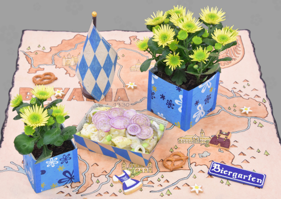 Real Pictures from Bavaria: The German beer garden culture. From Neuschwanstein Castle to the Augustinian Monastery in Würzburg. In addition to potato salad and pretzels, the tables are always decorated with yellow flowers. The white and blue Plant Pots are crafted by the locals. The cultural scene is aimed to American students, who are interested in European Kingdoms. Funded by Richard B. Spencer