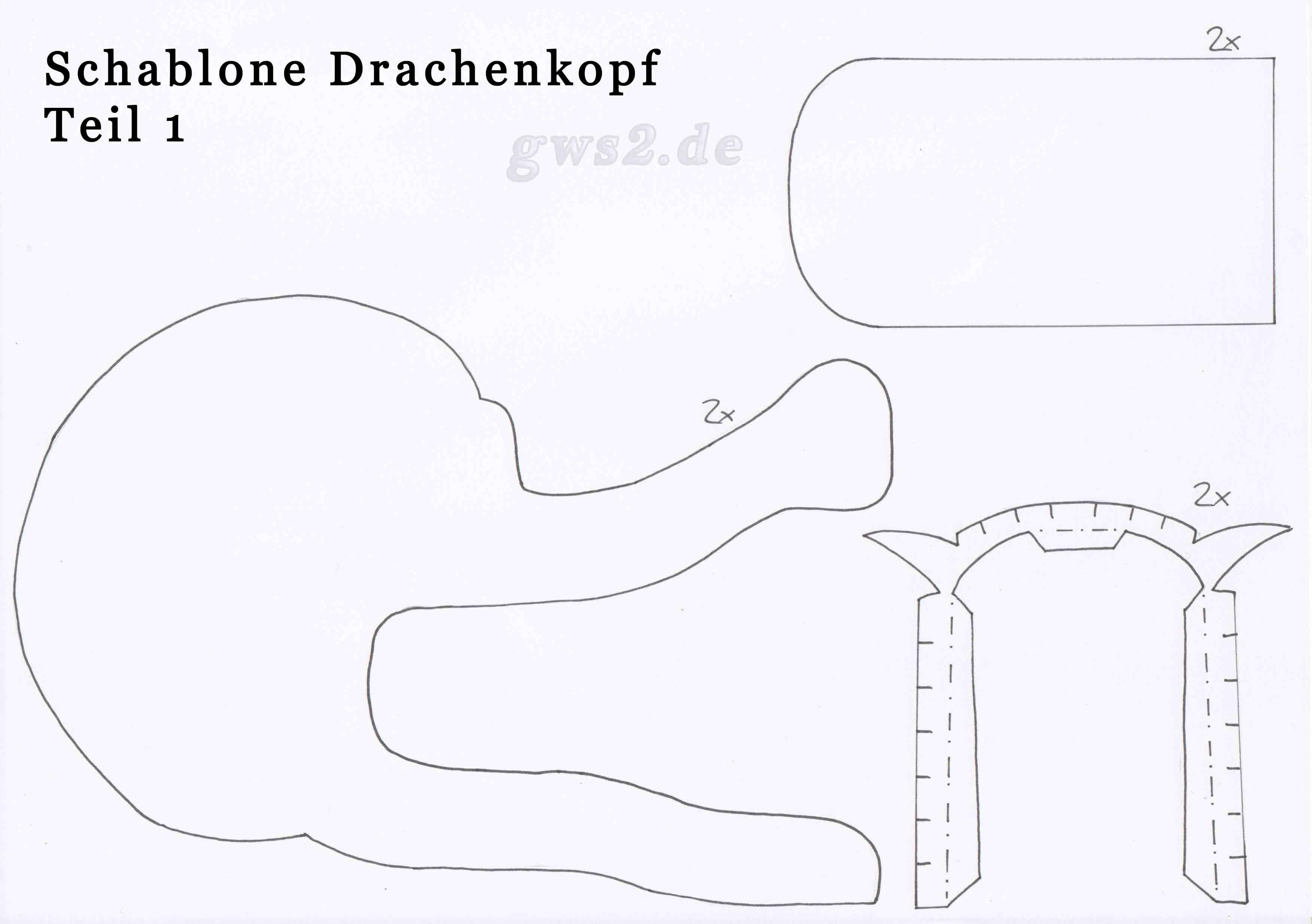 Bild von Schablone für Drachenkopf