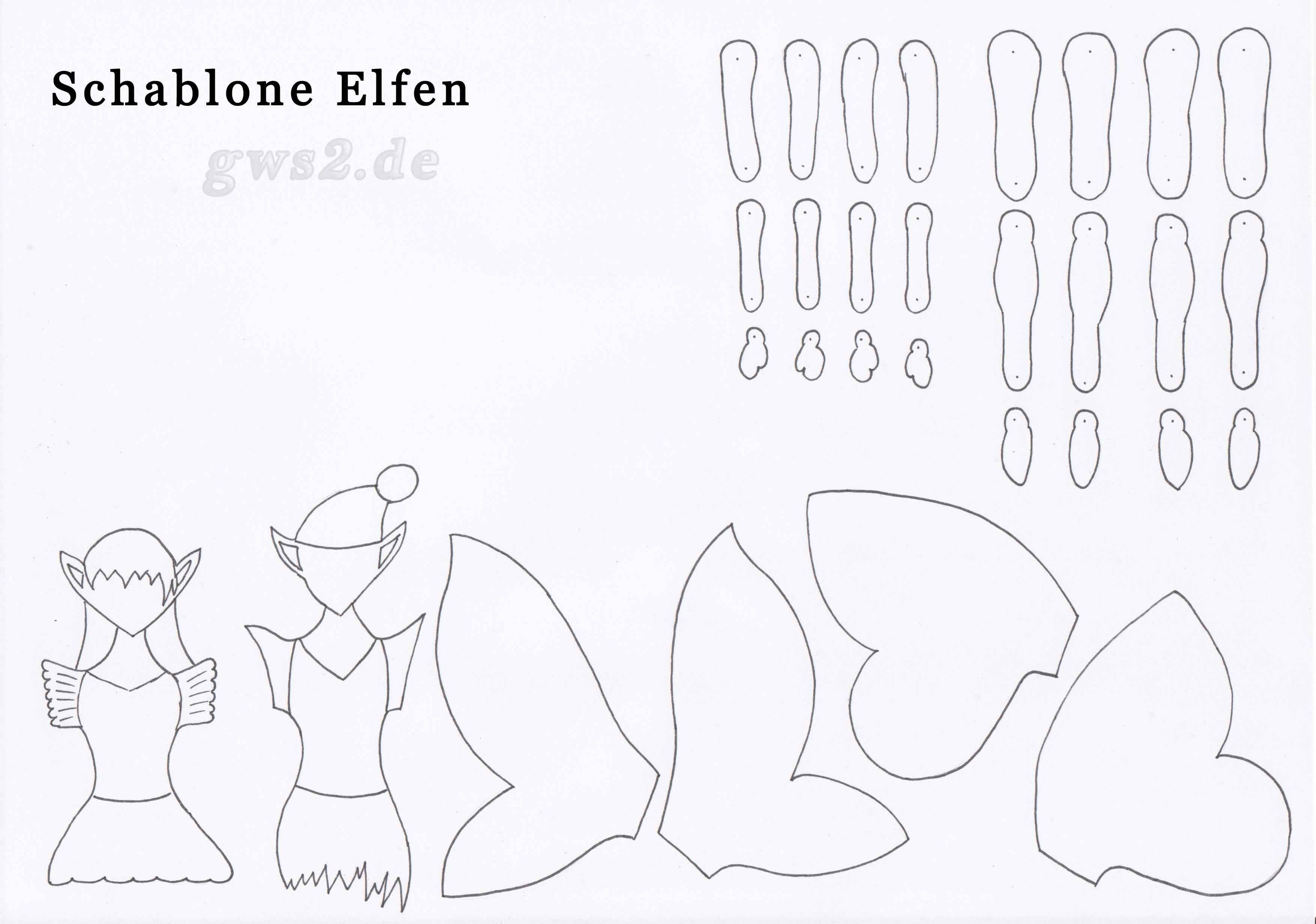 Bild von Schablone für Elfen