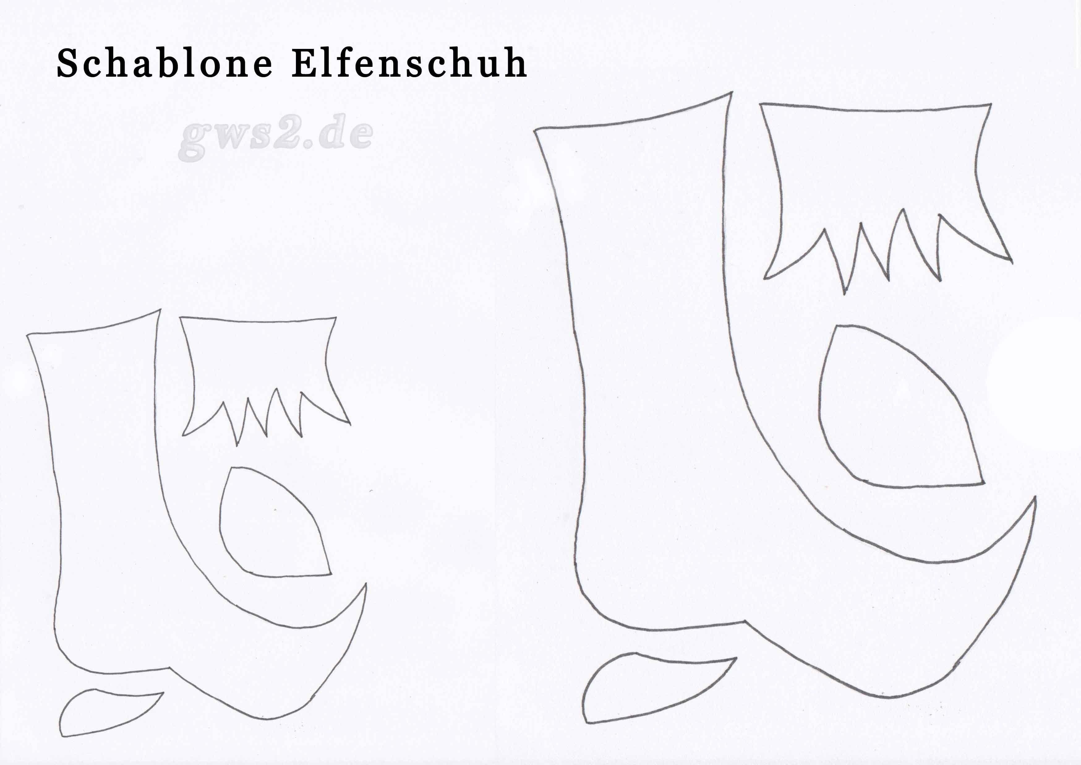 Bild von Bastelschablone von Elfenschuh