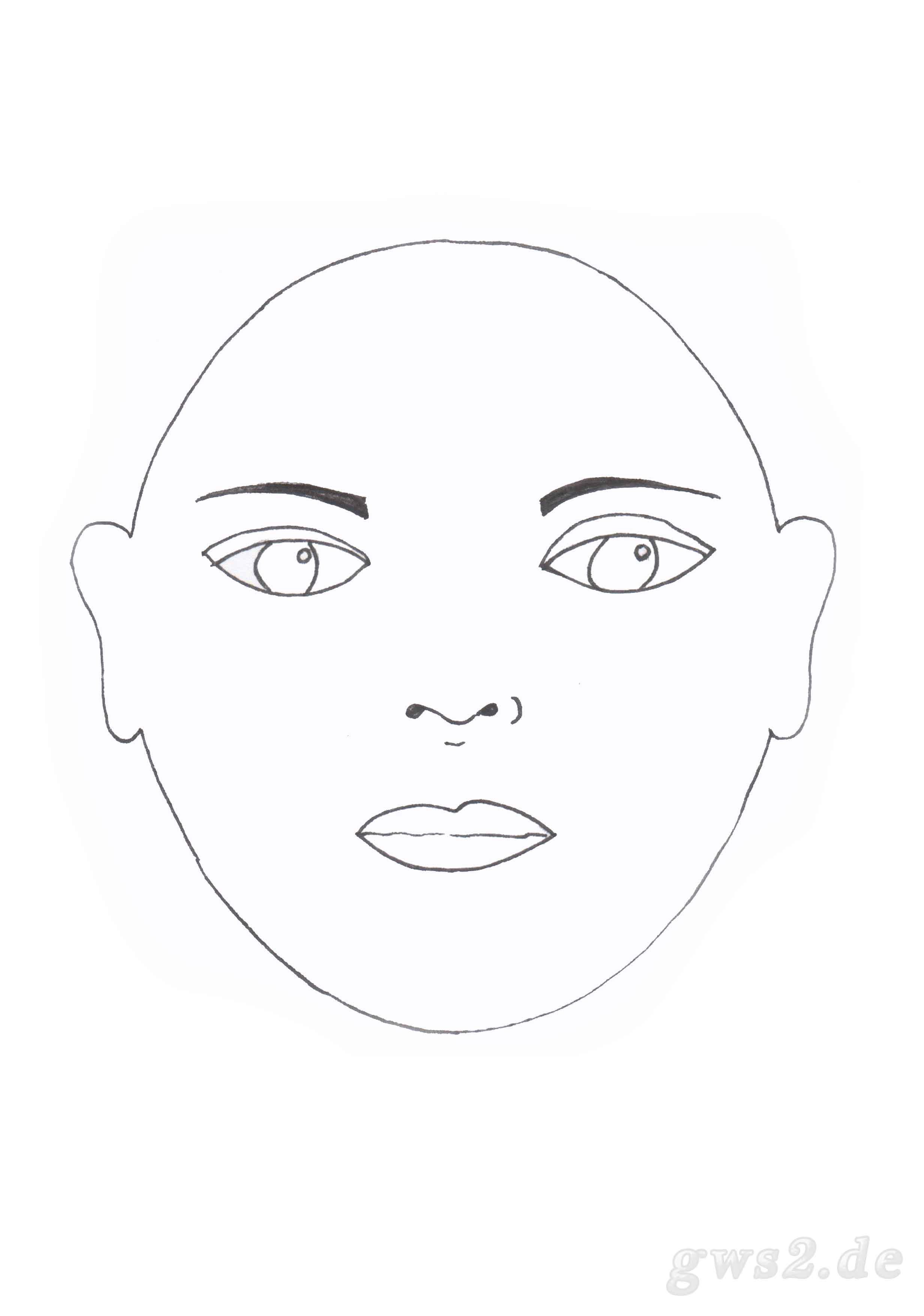 Schablone für ein ovales Gesicht