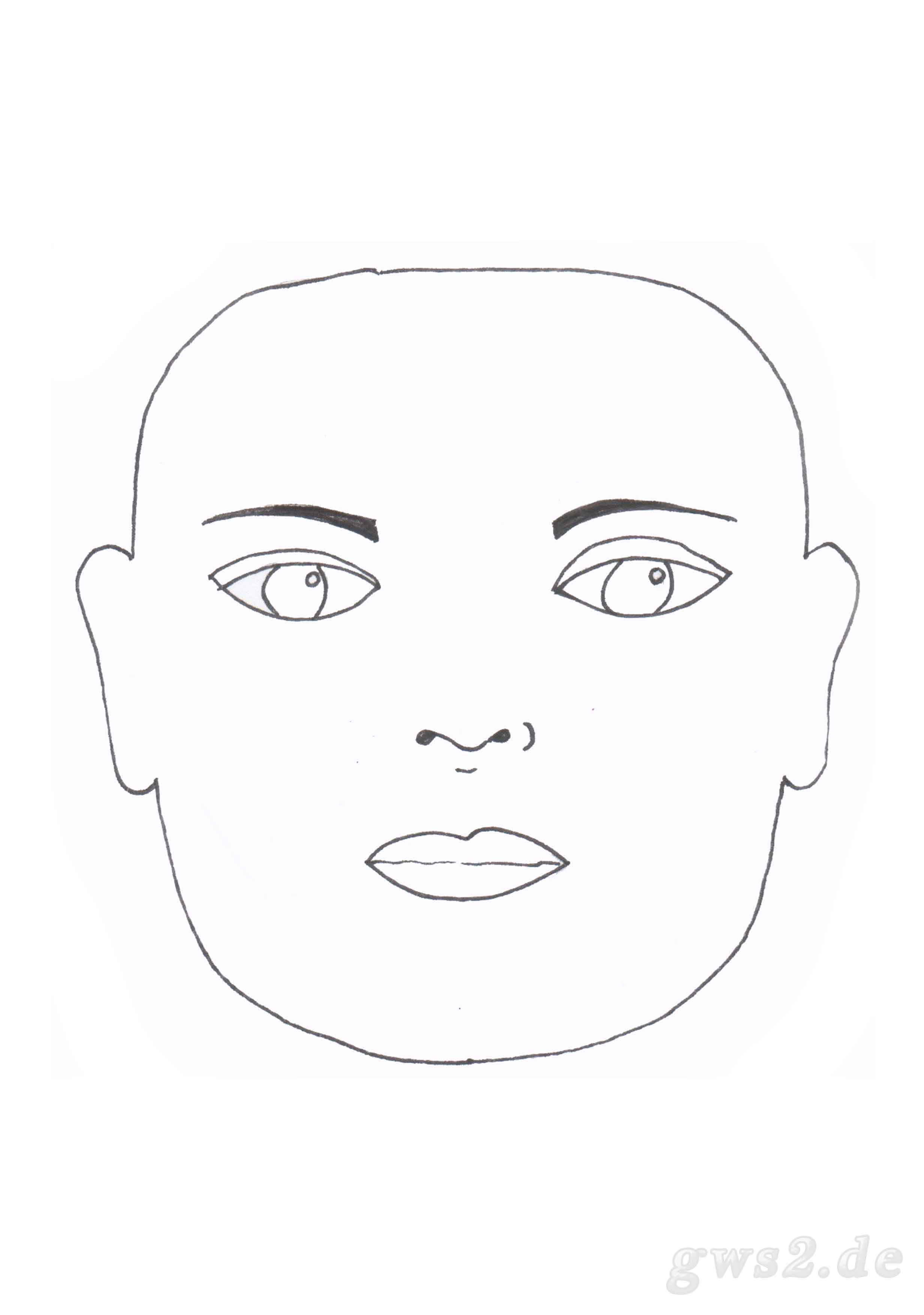 Bild von Schablone für ein rechteckiges Gesicht