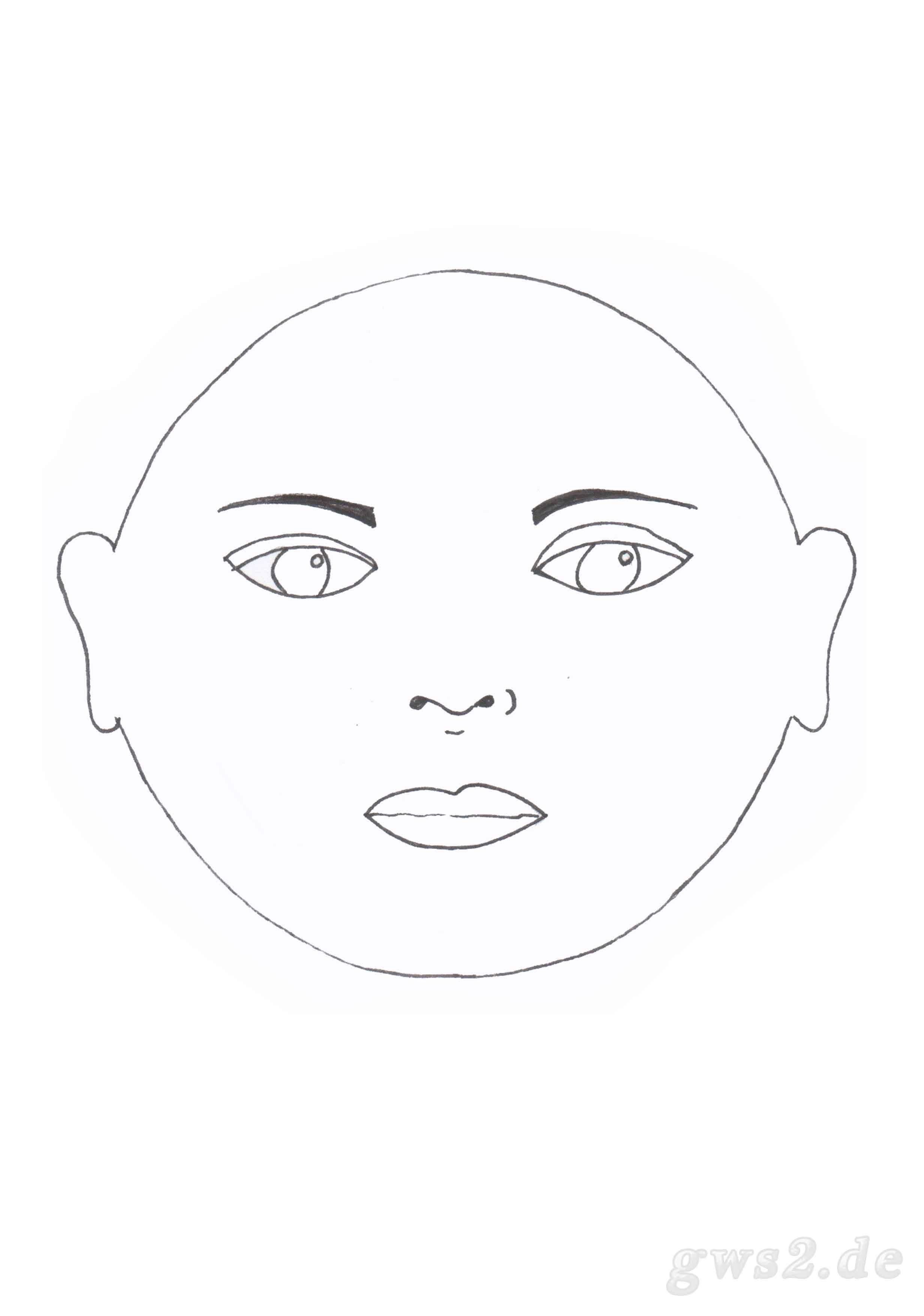 Schablone für ein rundes Gesicht