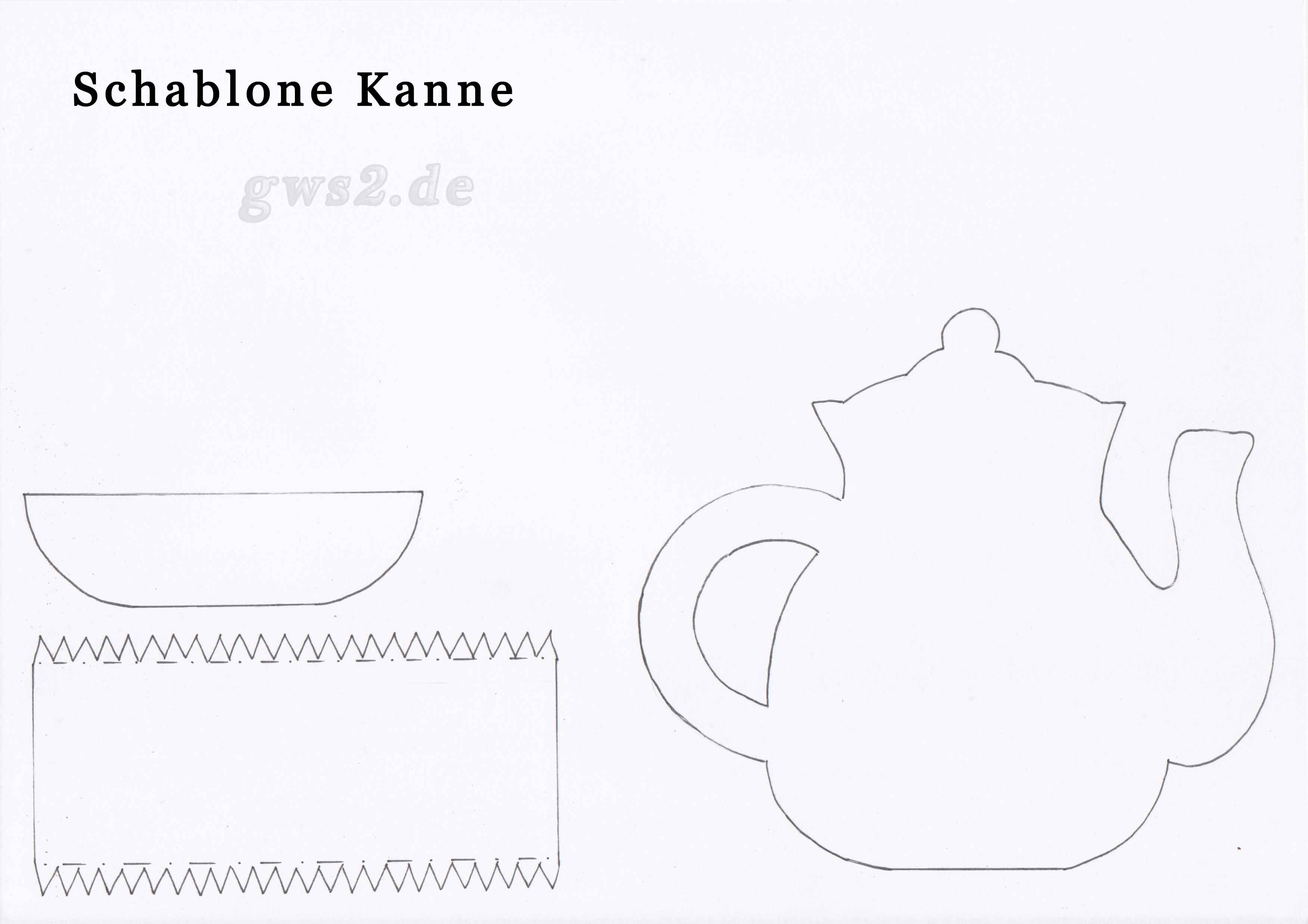 Bild von Schablone für Teekanne als Tischdeko
