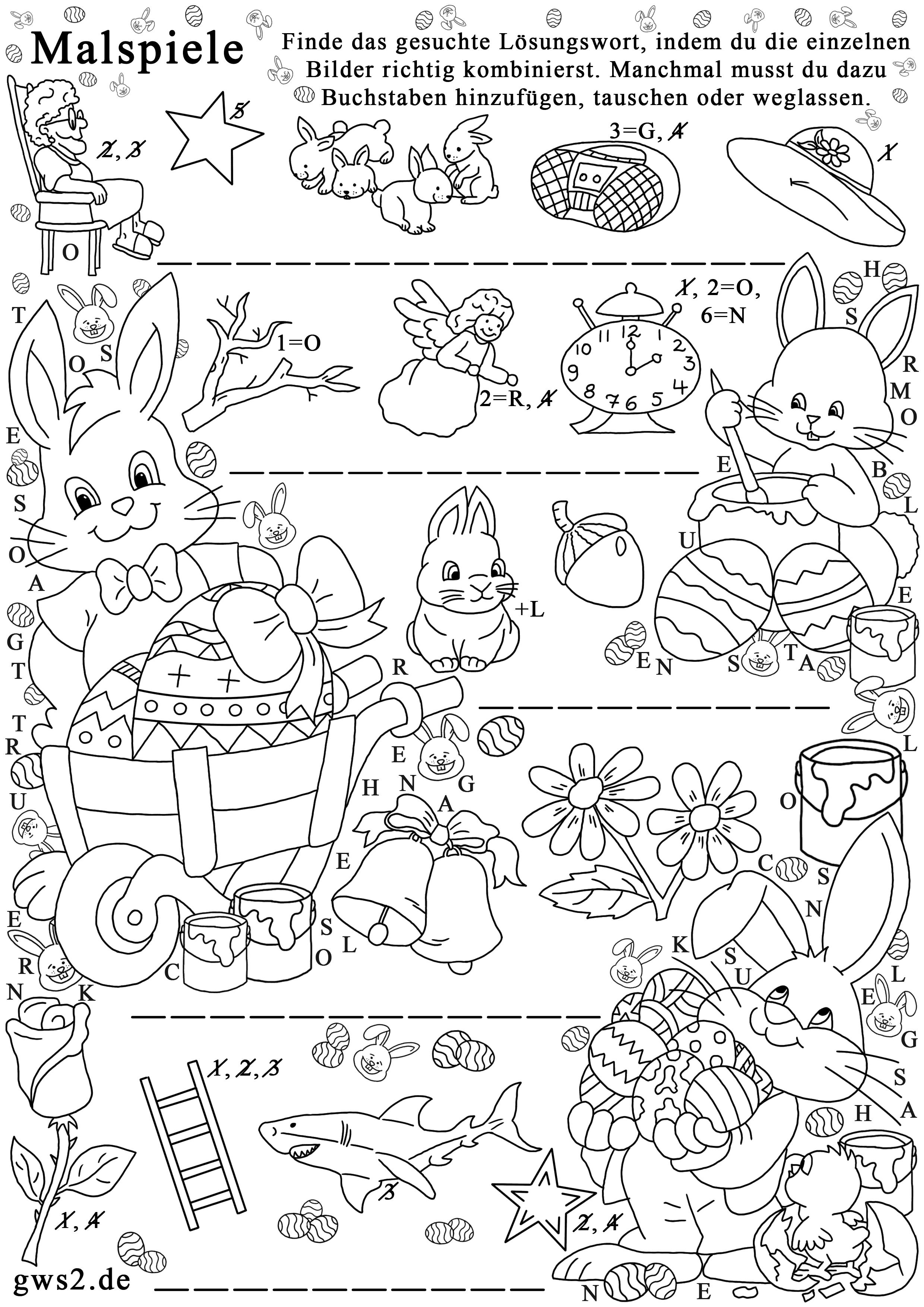 Osterhasen zum Ausmalen - Rätselspiel für Kinder