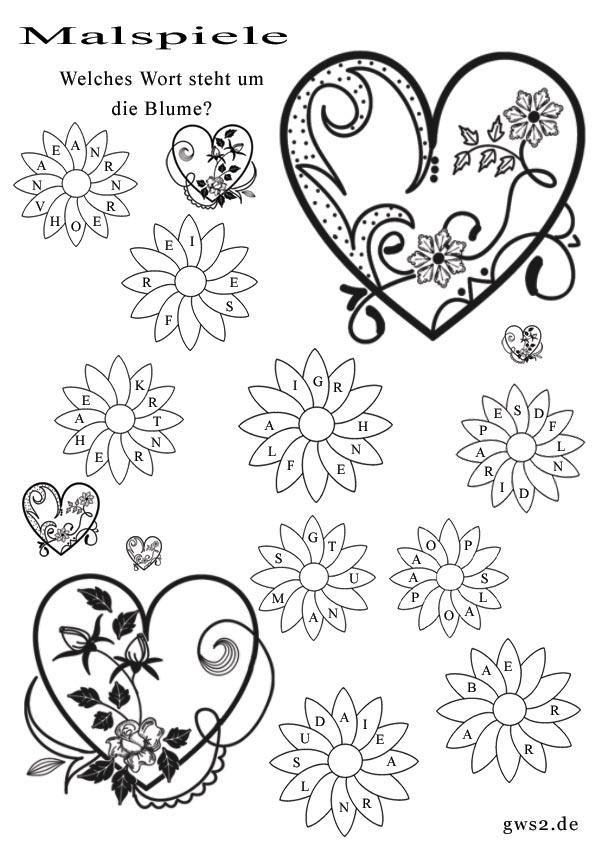 Fantastisch Herzen Und Blumen Malvorlagen Zeitgenössisch - Druckbare ...