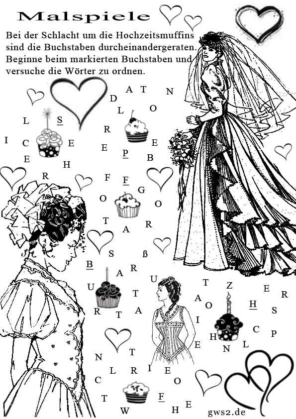Malspiele für Kinder zum Thema Hochzeit
