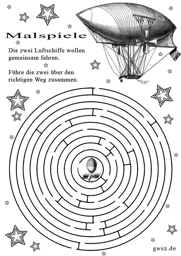 Bild von Zeppelin im Labyrinth zum Ausmalen