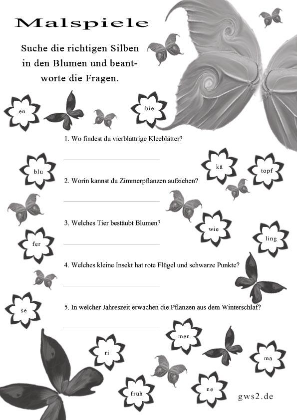 Silbenrätsel für Kinder mit Schmetterlingen