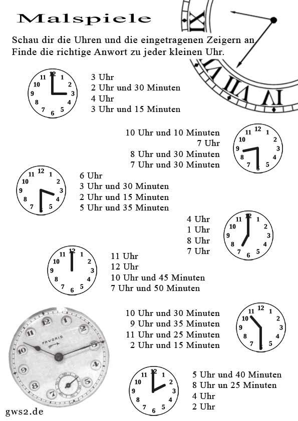 Arbeitsblatt Uhren Blanko : Mit malspiel die uhr lernen