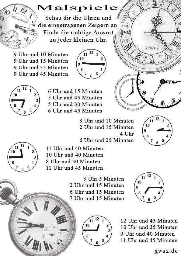 Mit Malspiel die Uhr lernen