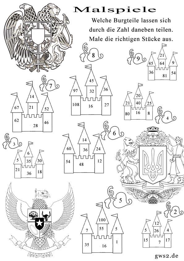 Bild von Burgen und Wappen im Rechenspiel