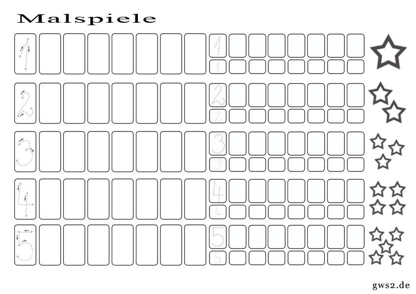 Bild Malspiel zum Zahlen lernen 1 - 5