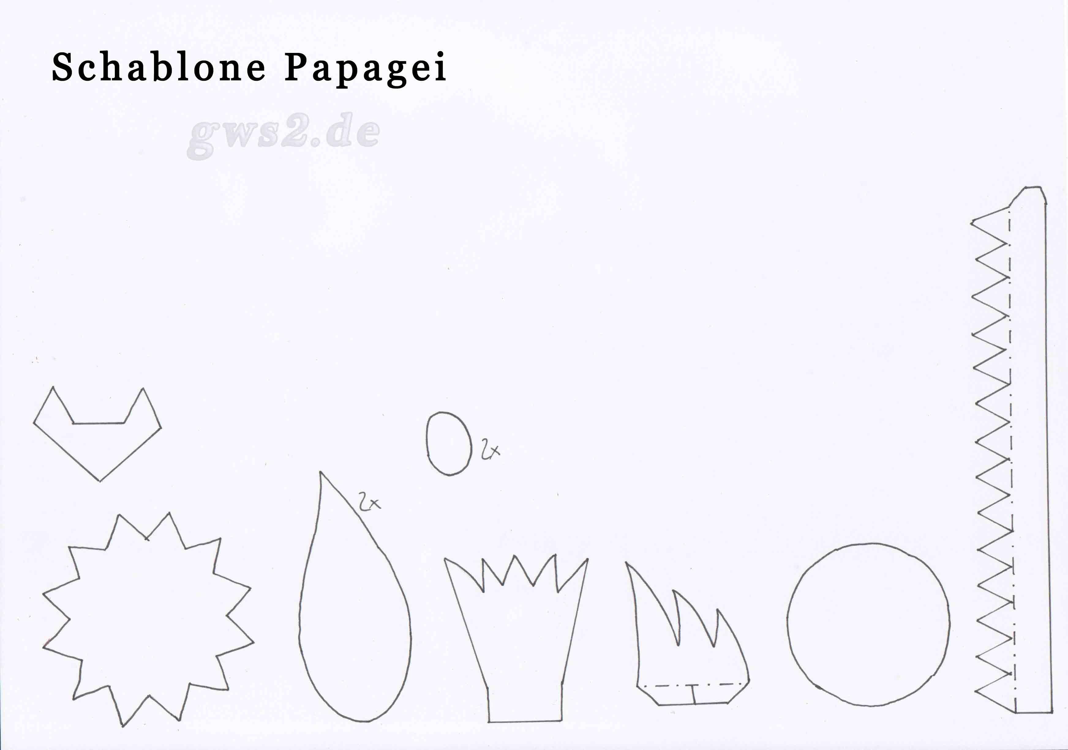 Bild von Schablone für einen Papagei