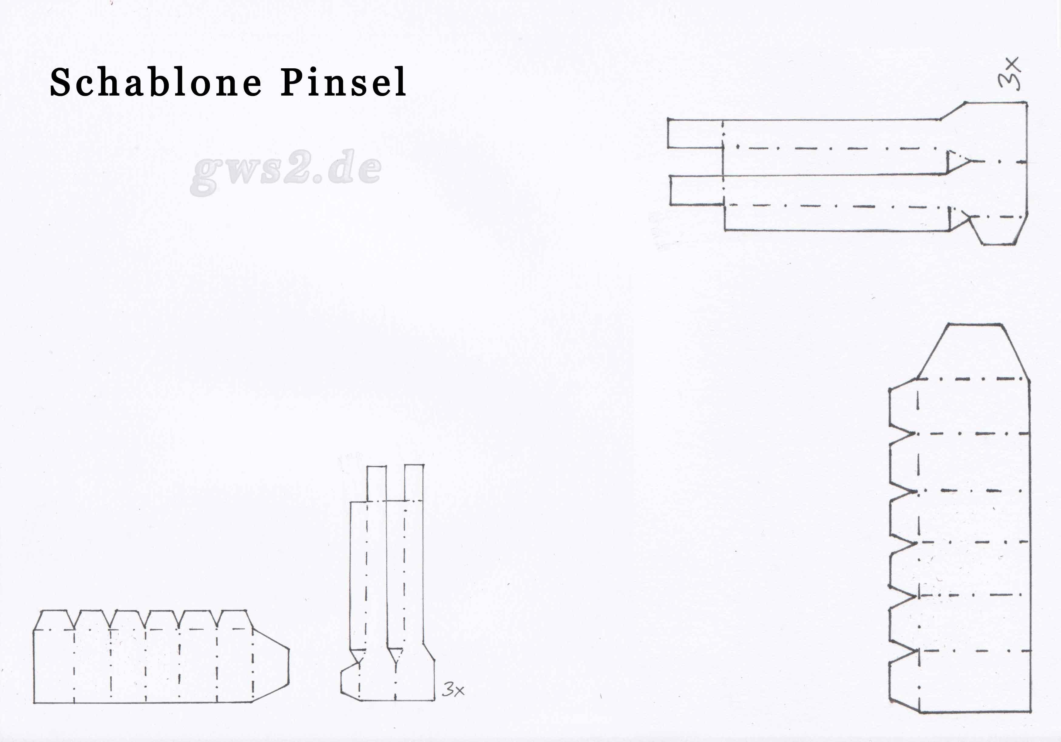 Pinsel aus Papier Bastelvorlage