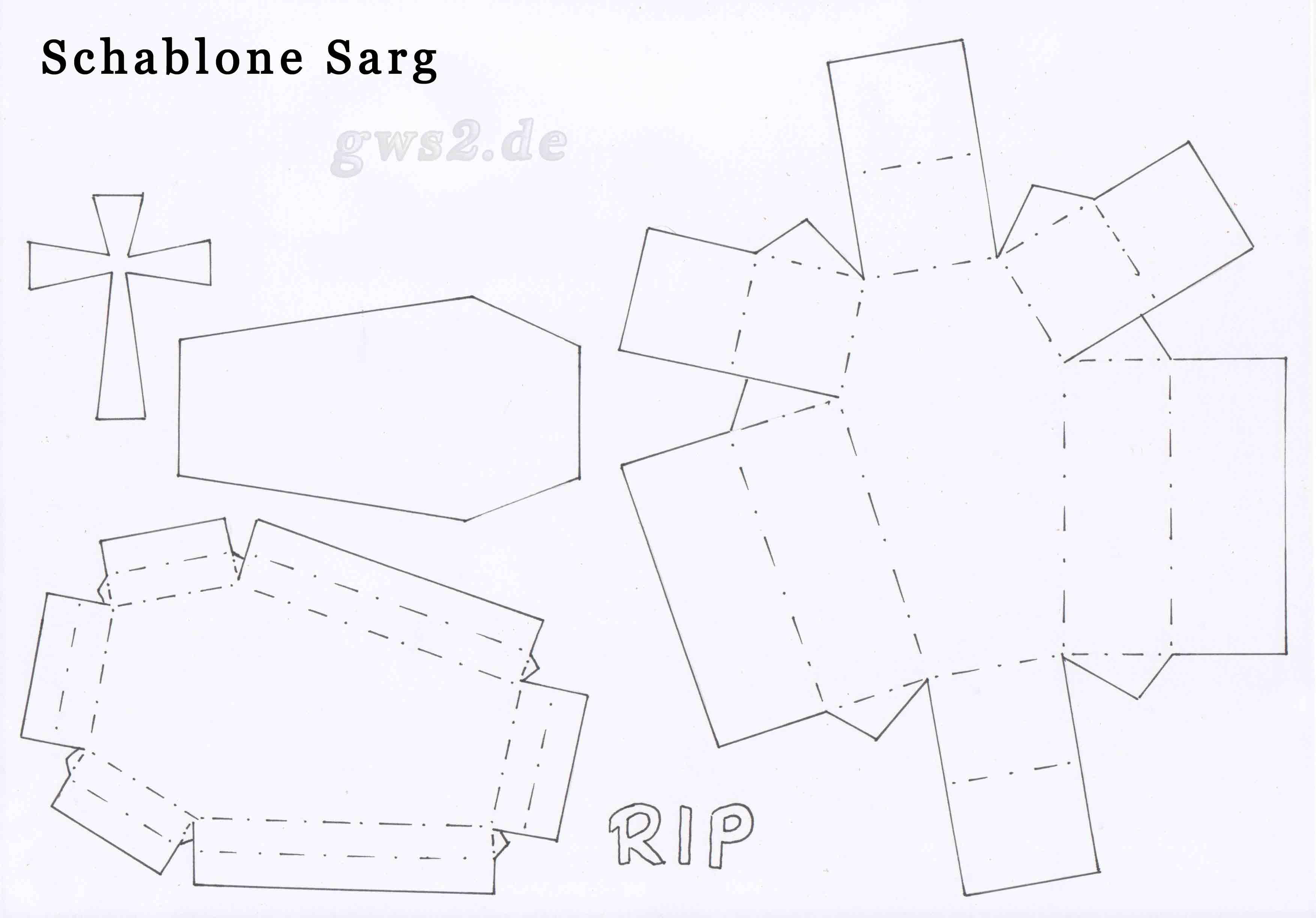 Bild von Schablone für Papiersarg