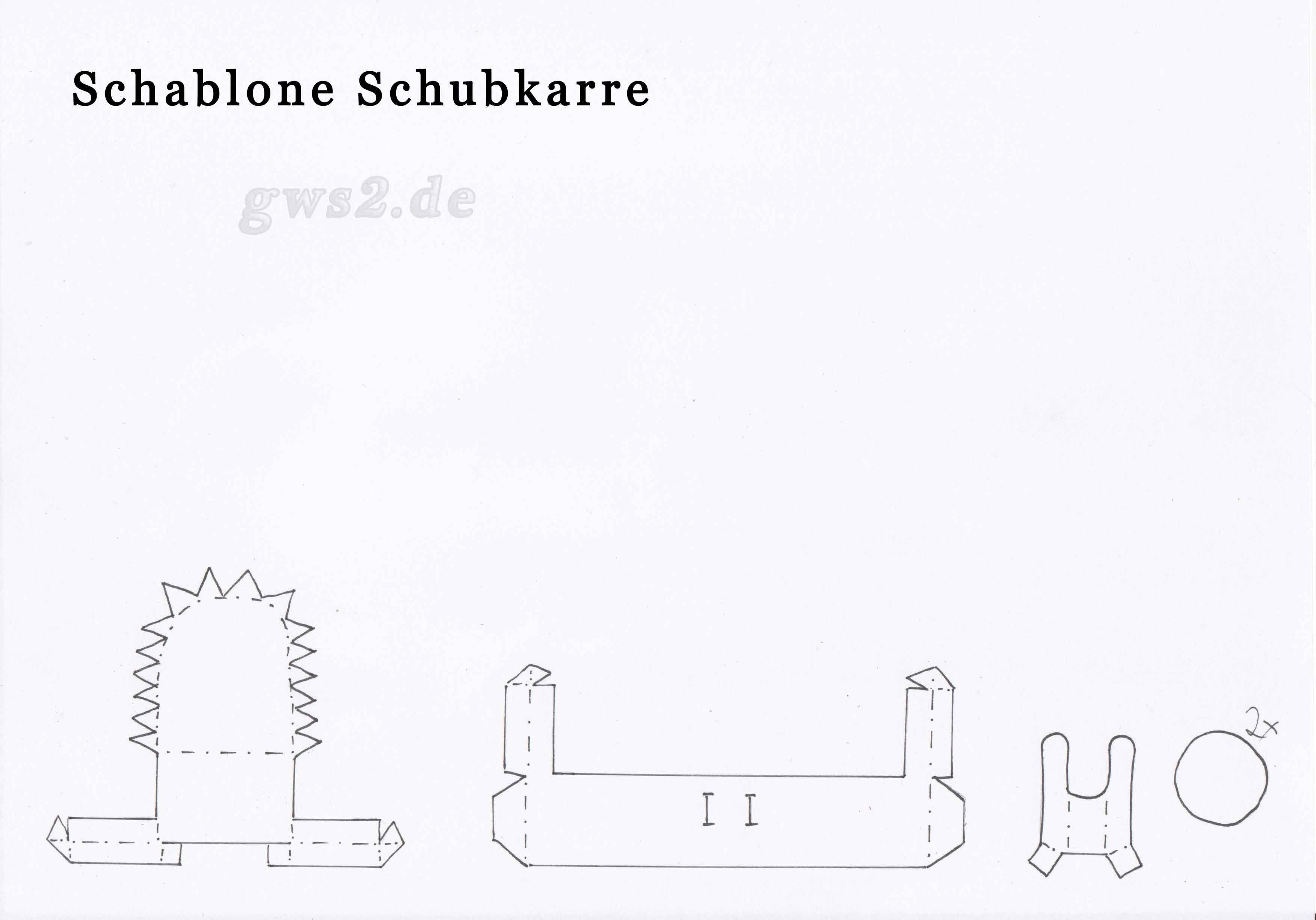 Bild von Schablone für Schubkarre aus Papier