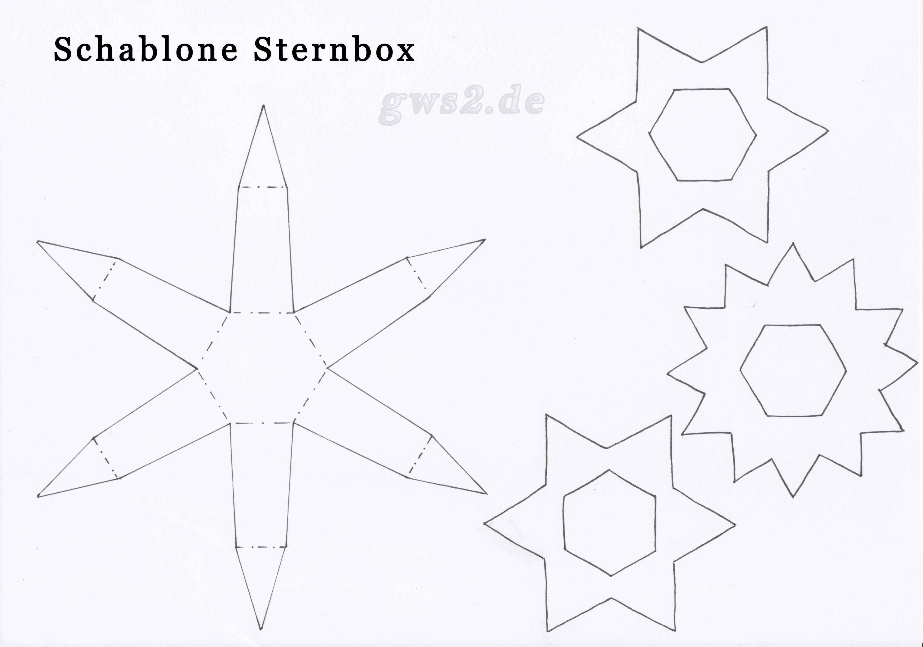 Bastelvorlage Sternenbox aus Papier