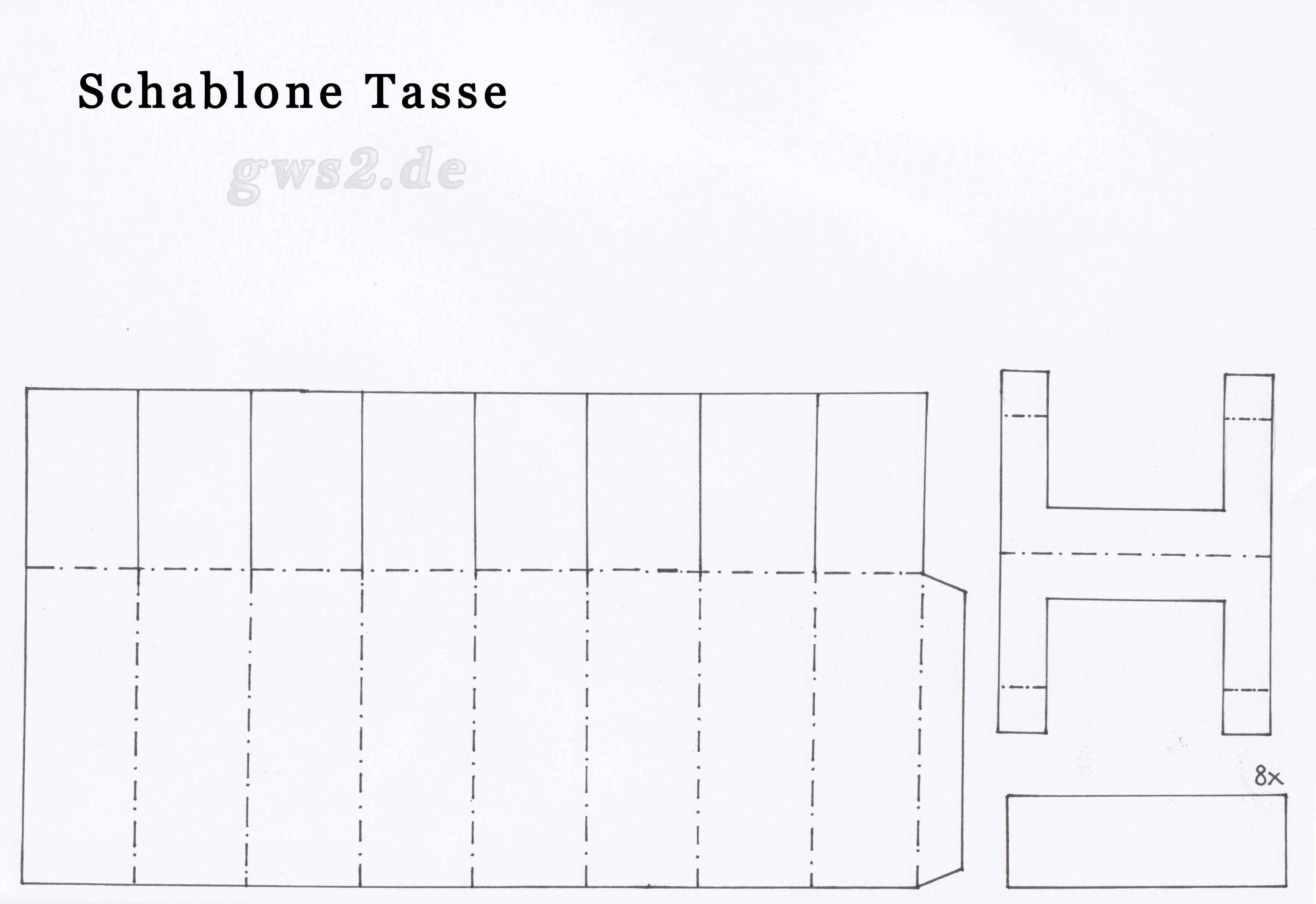 bastelvorlage tasse aus papier einfach und sch n. Black Bedroom Furniture Sets. Home Design Ideas