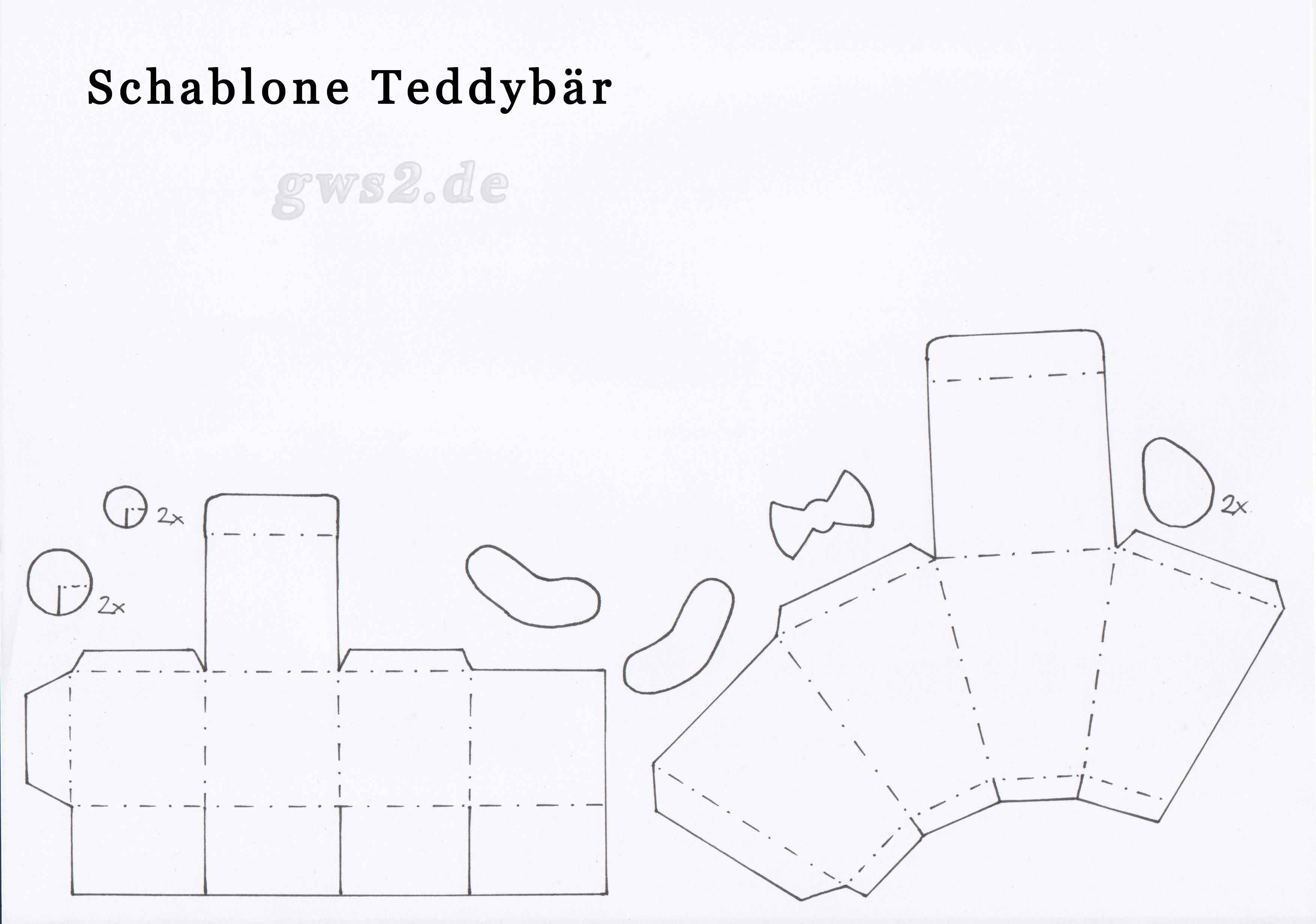 Bastelvorlage Teddybär aus Papier