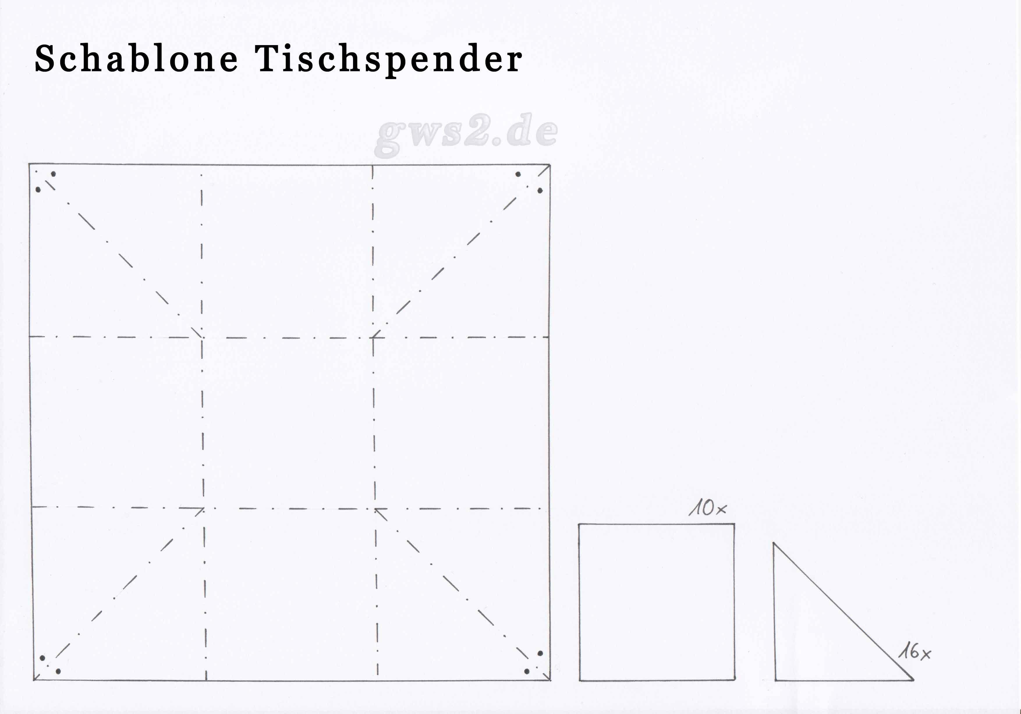 Schablone zum Tischspender aus Papier