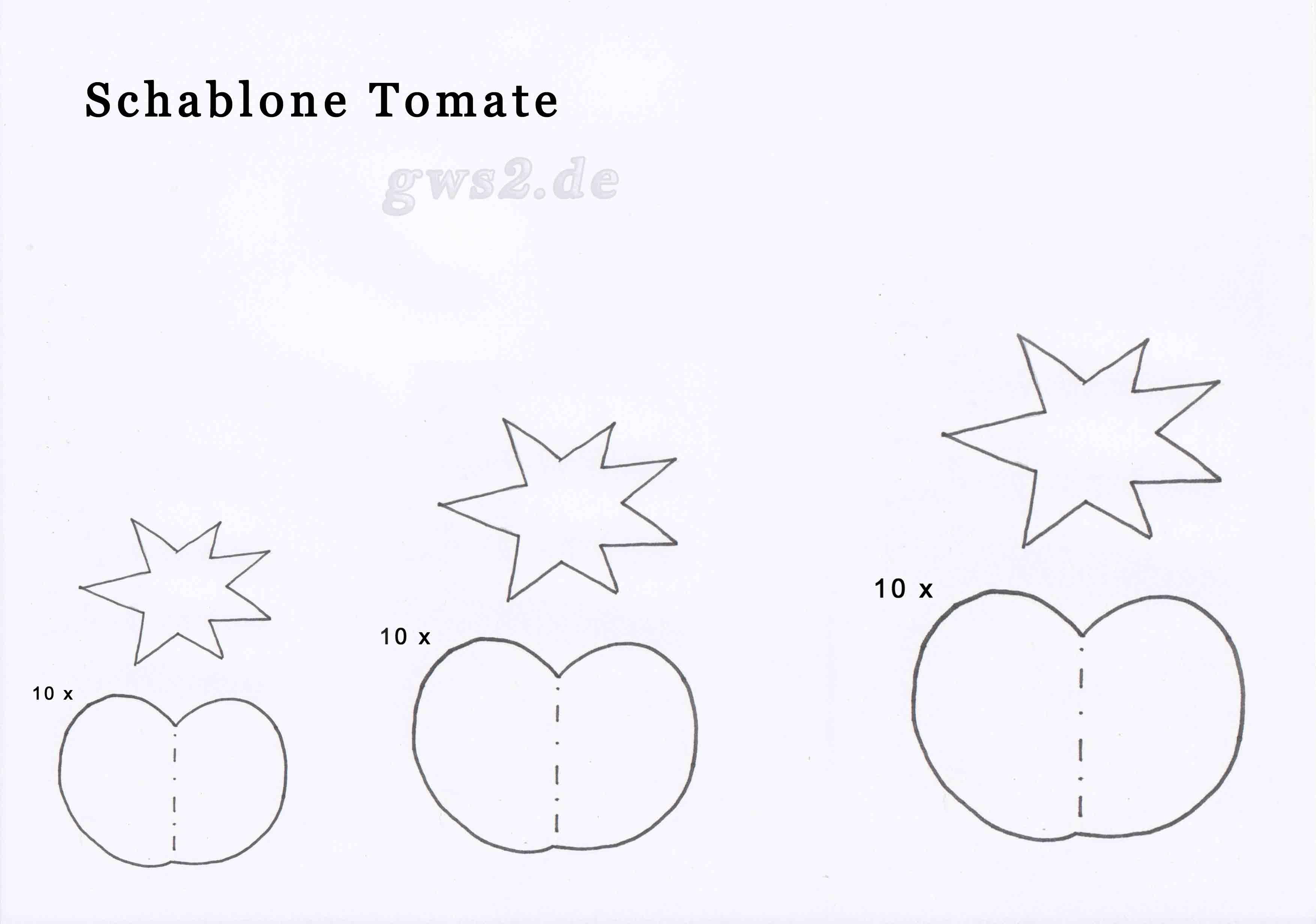 Bild von Schablone zum Basteln von Tomate