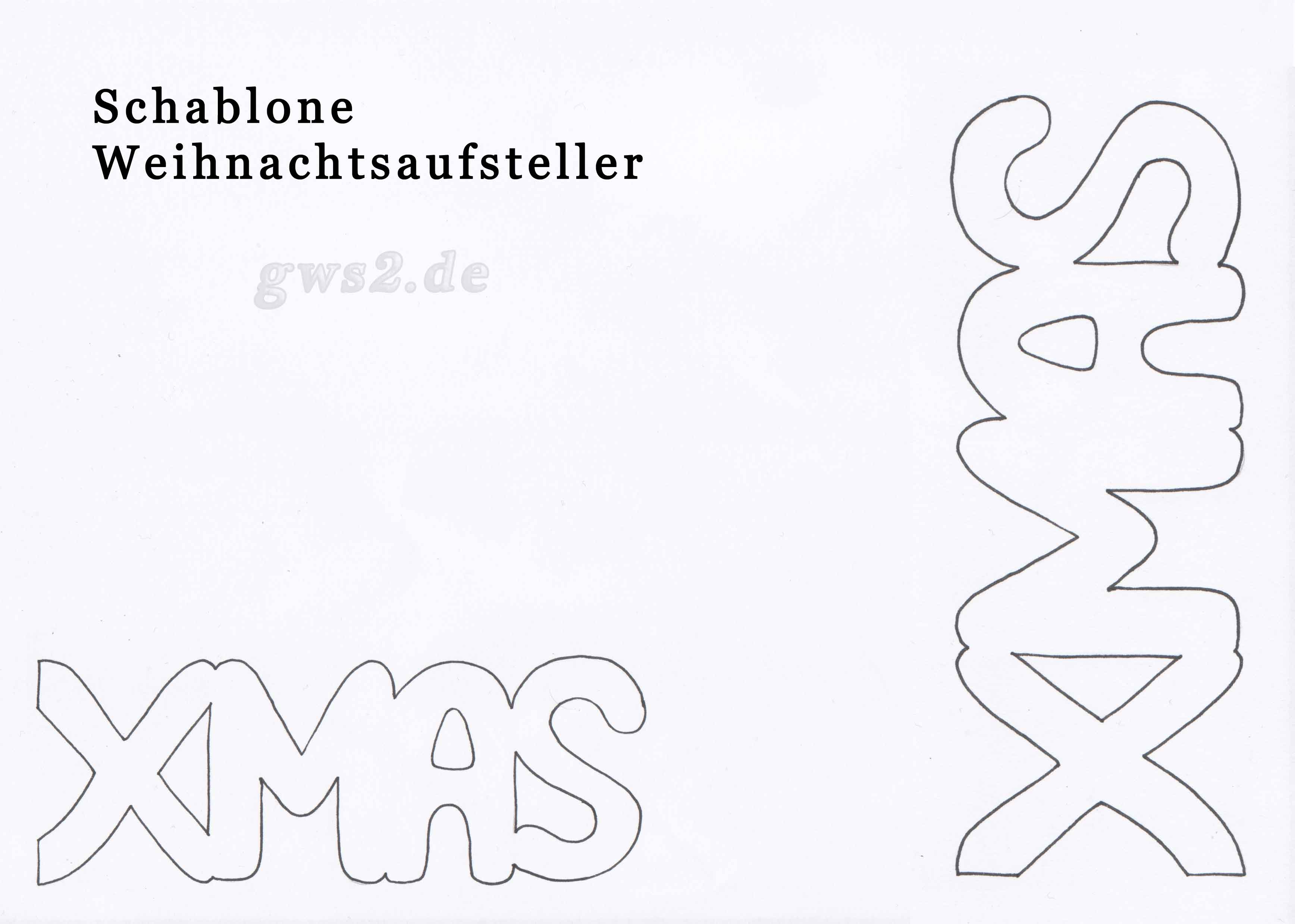 Bastelvorlage zum X-MAS-Schriftzug