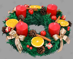 Picture of Classic German Advent wreath. Celebrate Christmas in Europe. Traditional Christian ritual. Issued by Veronika Vetter Bavarian Fine Artist