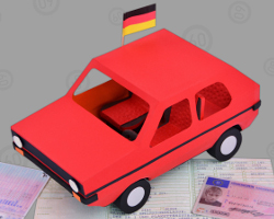 Picture of German VW Car made of paper. Crafted by Veronika Vetter Bavarian Fine Artist