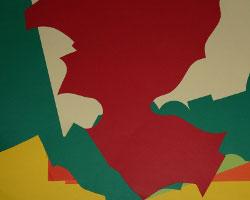 Bild vom bunten Papierhaufen