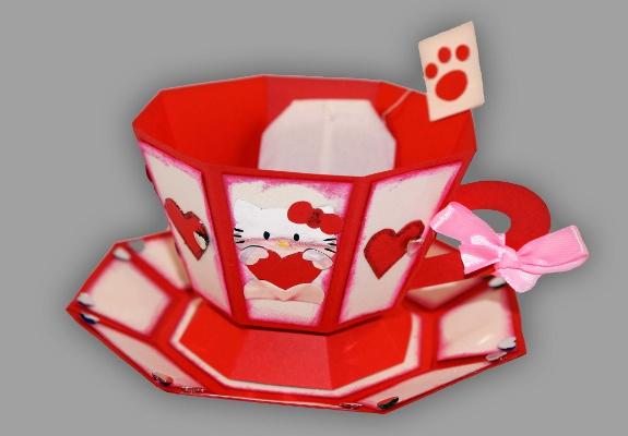 tasse aus papier im hello kitty design basteln. Black Bedroom Furniture Sets. Home Design Ideas