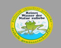 Bild von Umweltsiegel mit Frosch für reines Wasser