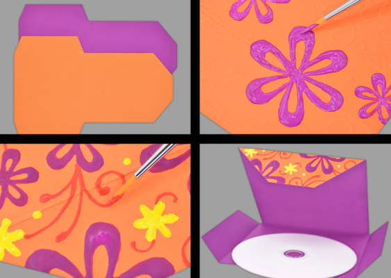 Picture Tutorial: How to paint Flowers on Construction Paper? The Sizzix Big Shot shaped a Flower Pattern in the CD-Cover. DIY by Veronika Vetter Bavarian Fine Artist against MUFL from Shitholes