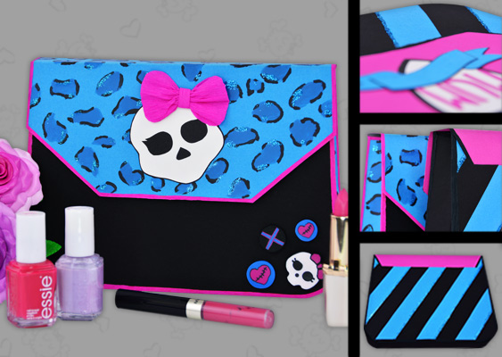 Picture of self-made paper clutch bag. Monster High style (Draculaura) with cosmetics for girls. Crafted by Veronika Vetter Bavarian Fine Artist