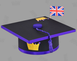 Picture of english Mortar Board. Oxford-Standard worn by Prince William. Royal Hat made by Veronika Vetter Bavarian Fine Artist