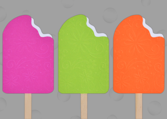 Picture of three colorful Ice Cream Popsicles out of Paper. Free Template by Veronika Vetter Bavarian Fine Artist