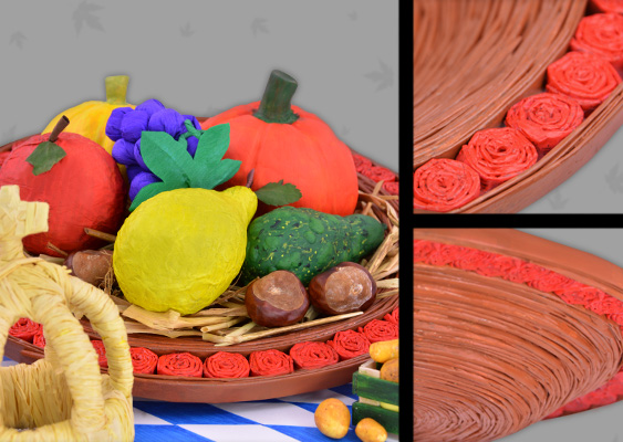 Picture of Thanksgiving Basket: Upcycling Art Tutorial. Free Template by Bavarian Fine Artist Veronika Vetter