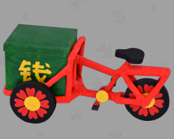 Picture of Chinese Three-wheeled Bicycle Cart out of Paper. Crafted by Veronika Vetter Bavarian Fine Artist