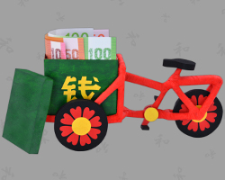 Picture of red Chinese Bicycle made of Paper with very stupid German Money. Wedding gift tutorial by Veronika Vetter Bavarian Fine Artist