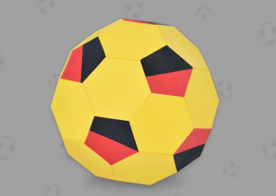 Paper Soccer Ball out of Paper. Truncated icosahedron. Homemade Fan Merchandise for the FIFA World Cup. Free Template for Download created by Veronika Vetter Bavarian Fine Artist