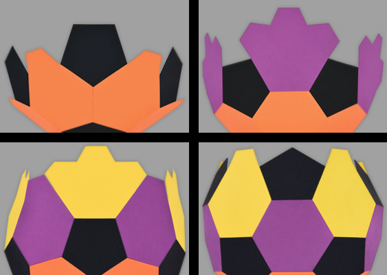 Picture Collage with Instruction Steps: How to make a Football out of Paper? From 32 Panels arises a stable Globe. Free DIY Tutorial for Soccer Fans by Veronika Vetter Bavarian Fine Artist