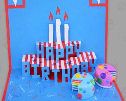Geburtstagskarte f r kollegen basteln american style - Geburtstagskarte pop up ...