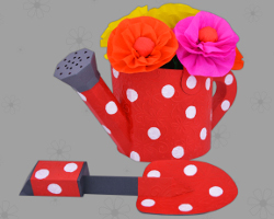 Picture Of Red Watering Can With White Dots. Decoration For The Barbecue  Party. Papercraft