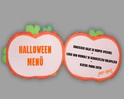 Schön Bild Von Aufgeschlagener Speisekarte Halloween Kürbis