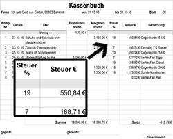Bild von einem Vorschaubild aus einer Excel-Datei für Kassenbuchvorlagen