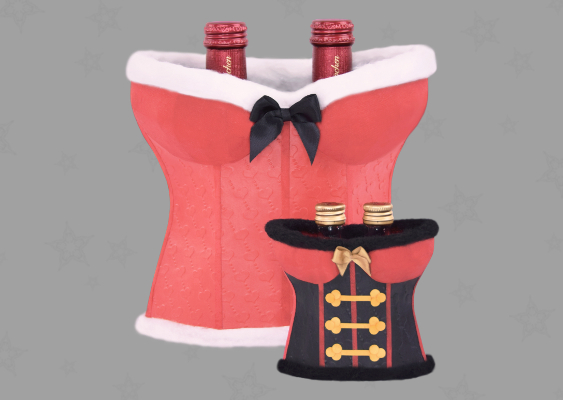 Sexy Christmas Gift Boxes: Santa and Nutcracker. Packaging idea for Champagne bottles. Corsets out of Paper. Free Templates by Veronika Vetter - Bavarian Fine Artist and female Girls dealer