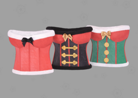 Xmas Packaging for Liquor Bottles: Sexy Santa, Nutcracker and Gnome (Corset). Adult Art by Veronika Vetter. Free Tutorial and Templates