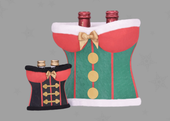 COSMOPOLITAN Christmas Recommendation: Hot Corset out of Paper for alcoholic Beverages. Sexiest Gift Box in the USA. Designer Veronika Vetter (Bavaria/Germany)